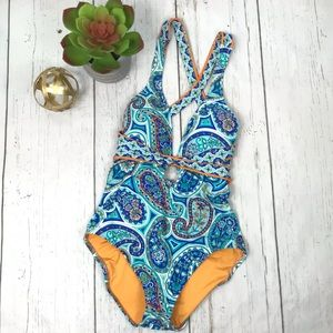 Trina Turk Floral & Paisley Print Deep V Swimsuit